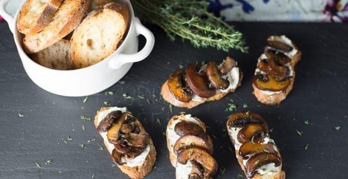 Mushroom Goat Cheese Bruschetta