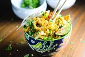 Warm, Spicy, Yellow Curry Noodle Bowl