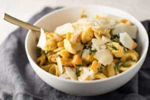 Butternut Squash Alfredo with Pancetta and Kale