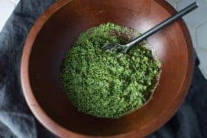 Kale Pesto is a wooden bowl.