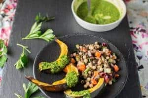 Roasted Acorn Squash with Kale Pesto