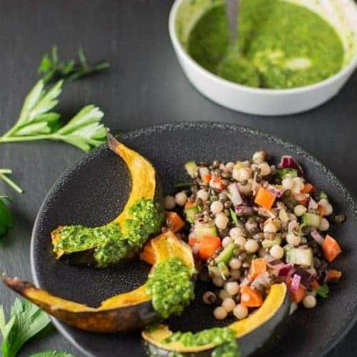 Roasted Acorn Squash slathered with Kale Pesto