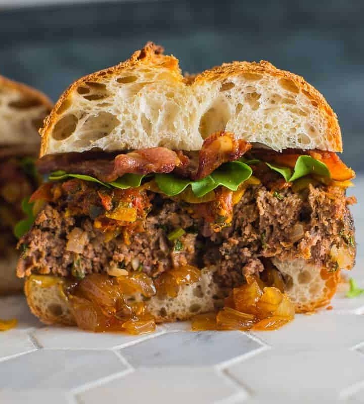 Meatloaf Sandwich with Bacon and Onion Jam