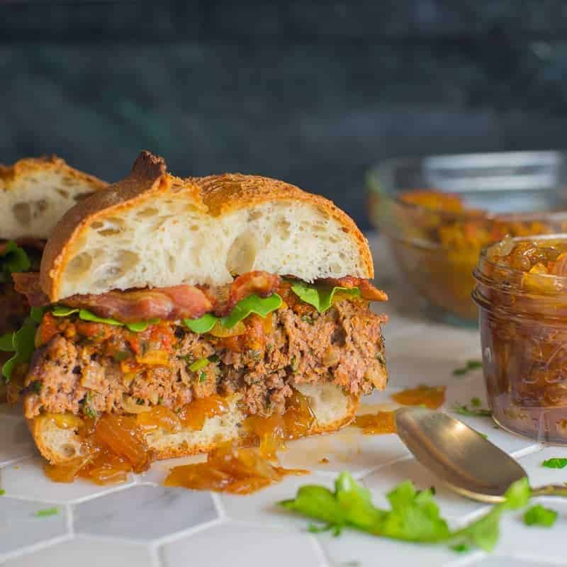 Tender, juicy meatloaf served with sweet and savory onion jam.