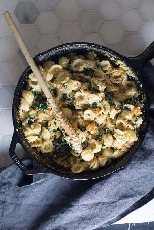 Vegan Alfredo Butternut Squash with Kale