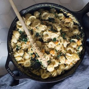 Vegan Cashew Alfredo with Butternut Squash and Kale