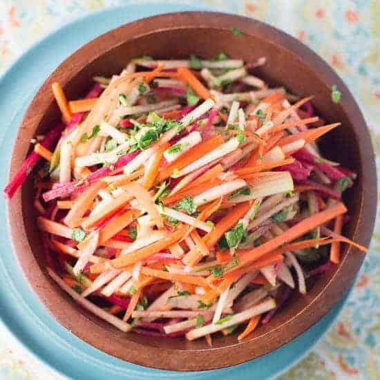 Carrot and apple matchstick salad.