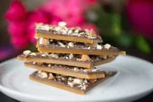 Stack of English Butter Toffee Chocolate Bars with Roasted Almonds