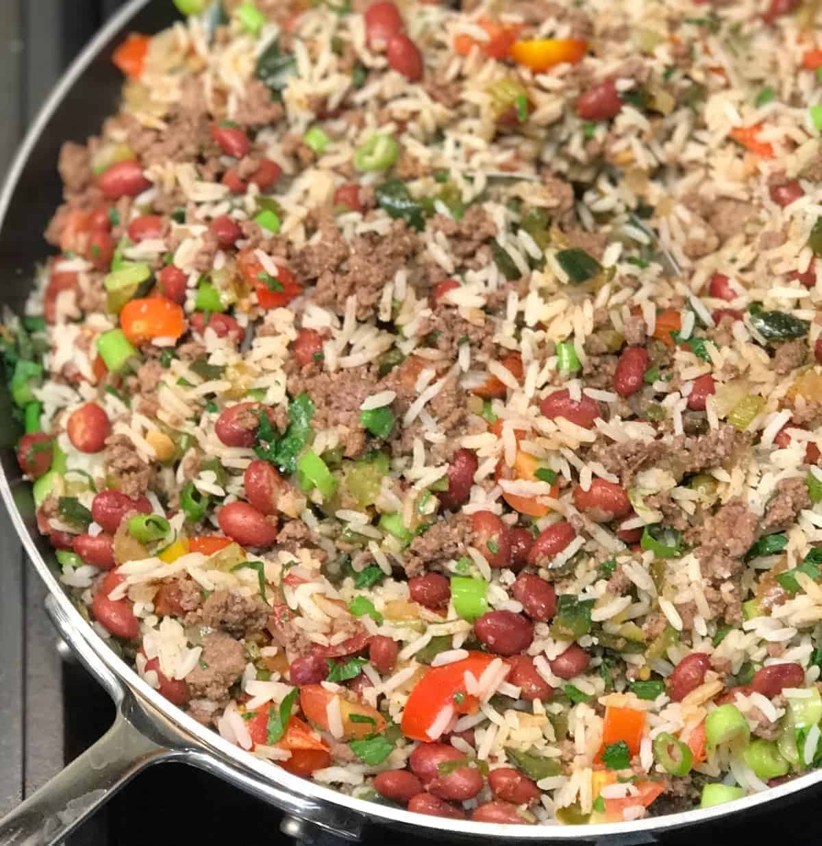 Puerto Rican Dirty Fried Rice. recipe by foodology geek.