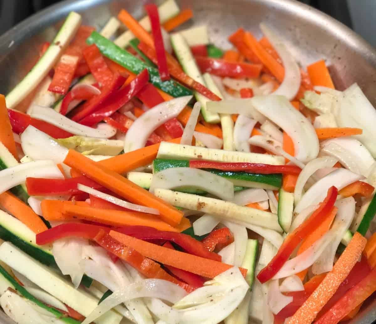 Julienned vegetables: carrots, fennel, and red pepper to serve with pan-seared halibut. recipe by foodology geek.