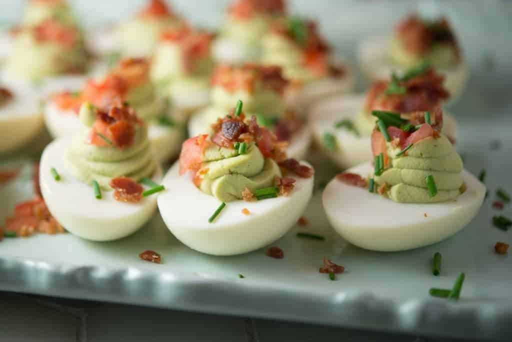 Bacon, Tomato and Avocado Deviled Eggs