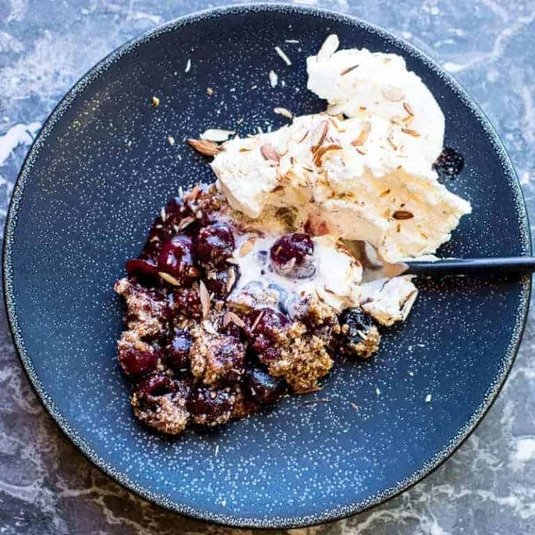 Cherry Crumble With Melted Almond Cream