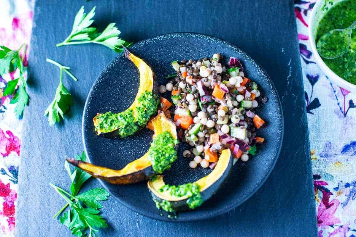 Couscous Salad with Black Lenils