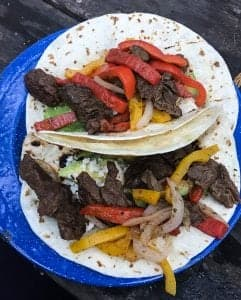 Super easy campfire recipe for Beef Fajitas.