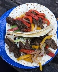 Super easy campfire recipe for Beef Fajitas. by foodology geek