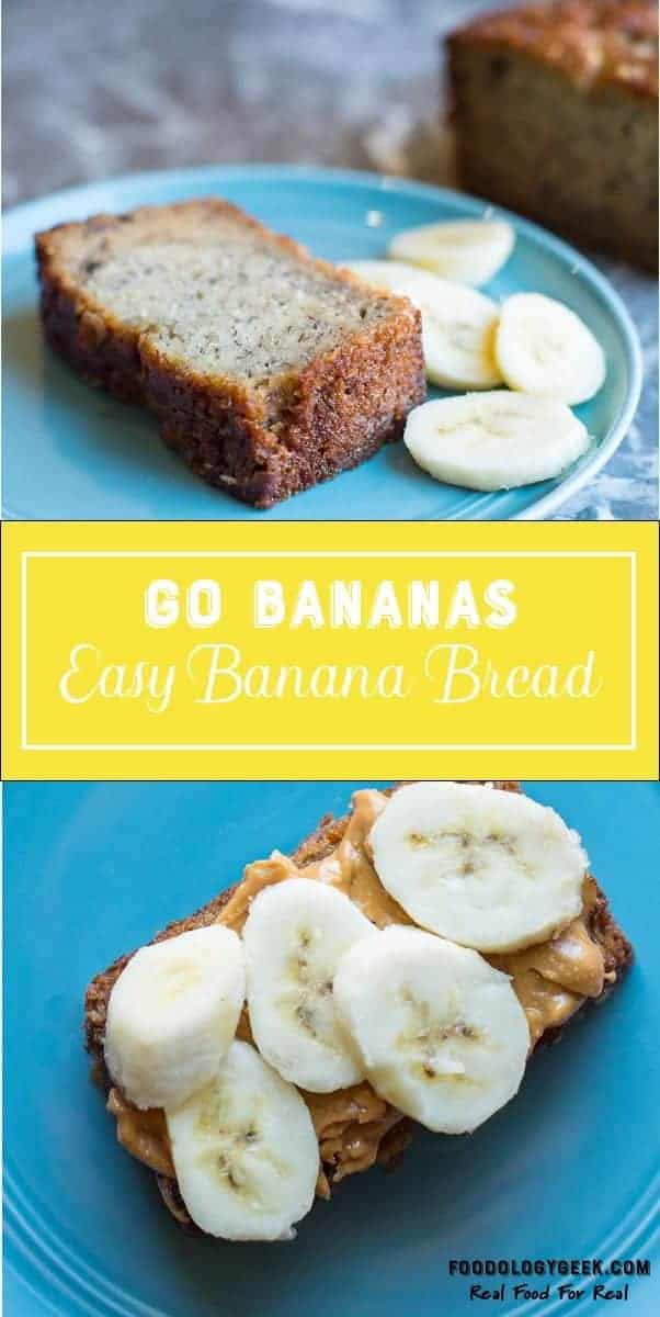 Old fashioned banana bread recipe pinterest image from foodology geek