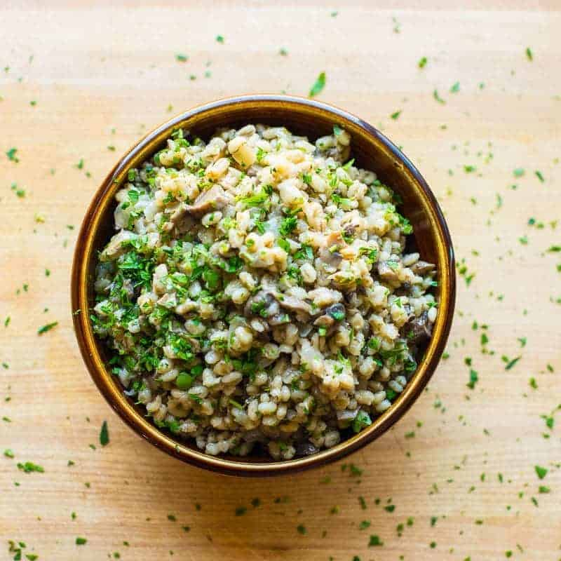Barley with Mushrooms and Onions. Topped with parsley.