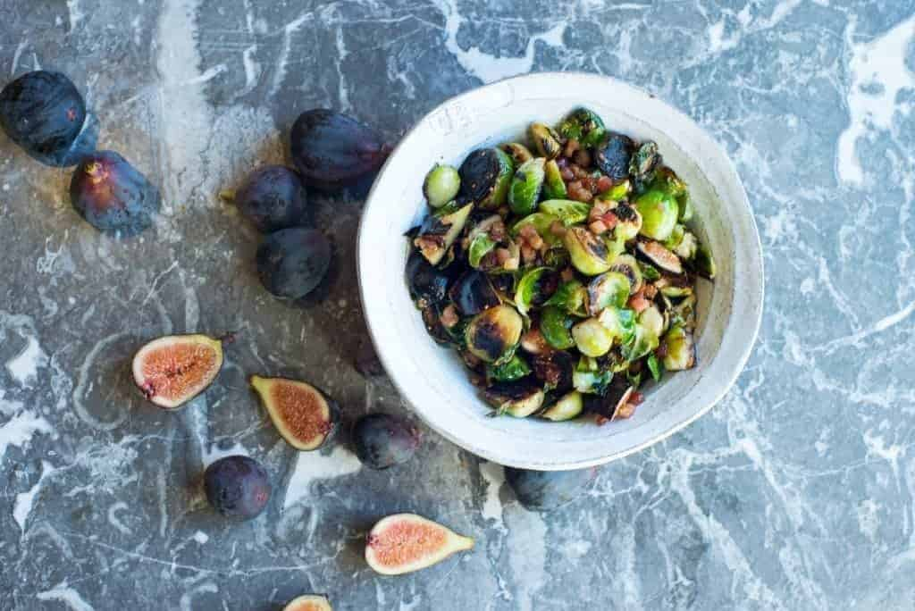 Brussels Sprouts with Pancetta and Figs