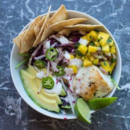 Fish Taco Bowl with Mango Salsa