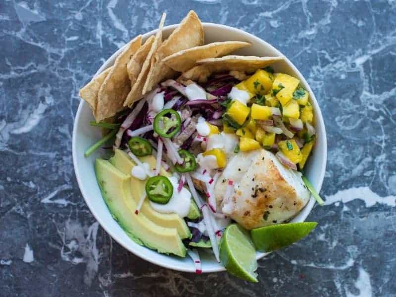 Fish Taco Bowl with Mango Salsa