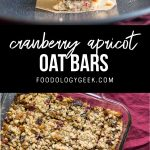 cranberry apricot oat bars recipe. pinterest image by foodology geek