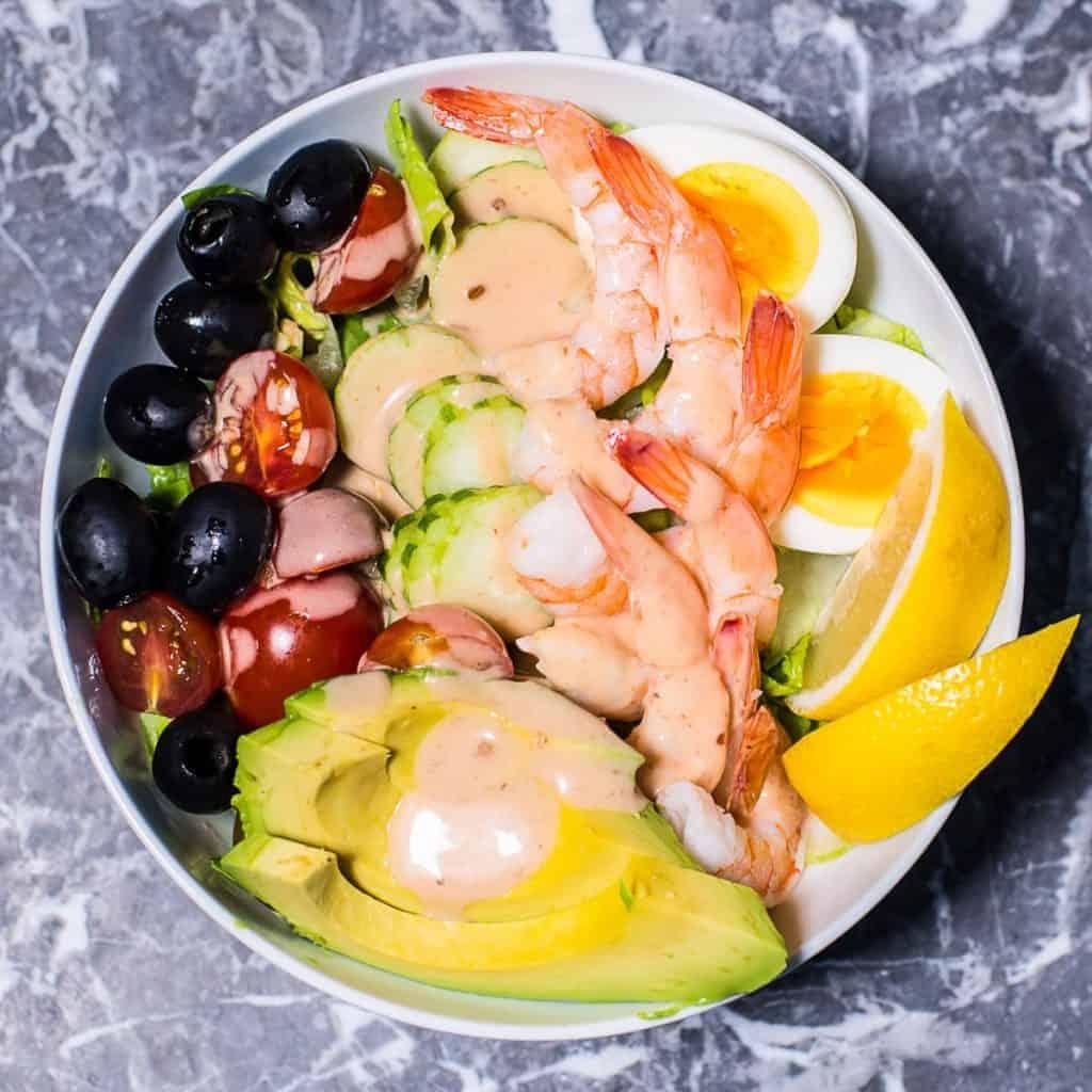 shrimp louie meal prep bowl