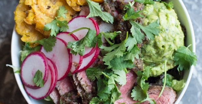 Latest Obsession: Grilled Steak Chimichurri Beast Bowl With Tostones