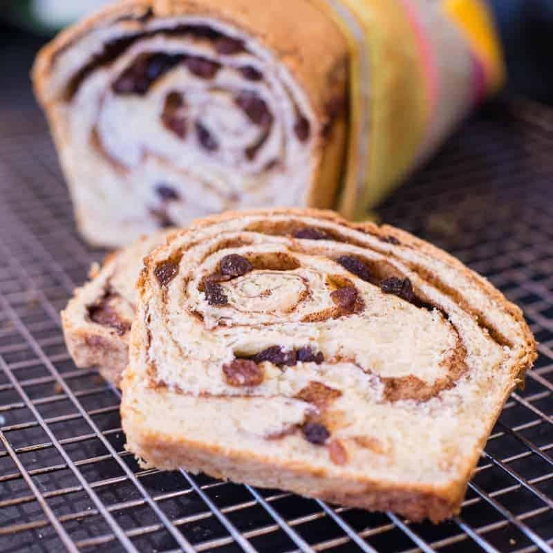 Slice of cinnamon roll bread. by foodology geek.