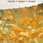 Everyone needs hearty stew recipes in their cooking repertoire. This is a Hearty Vegan Lentil Stew that has stick-to-your-ribs character. This is a vegan recipe that is hearty enough for carnivores!