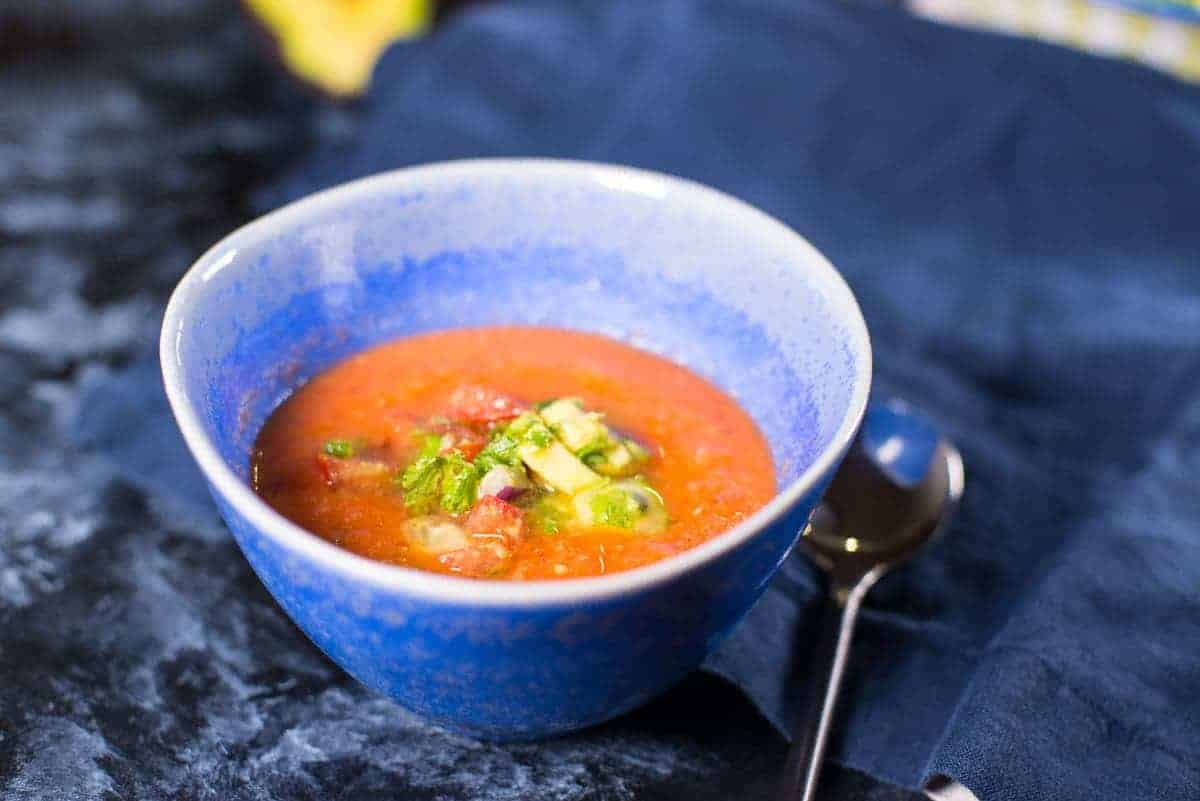 Summer Gazpacho with Avocado Relish