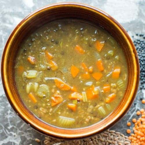 The best lentil soup recipe in a bowl. By foodology geek.