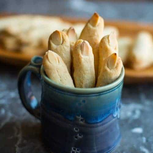 Parmesan Shortbread Halloween Finger Cookies in a cup featured photo