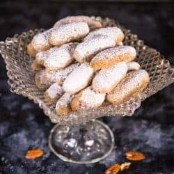 Pecan Finger Cookies with Powdered Sugar