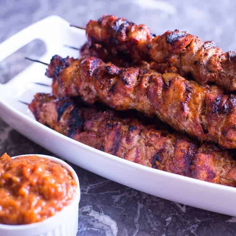 Grilled Pork Skewers with Peach Bourbon BBQ Sauce
