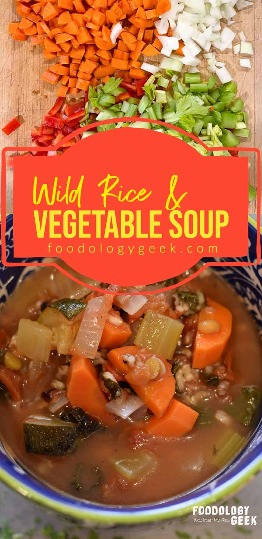 wild rice and vegetable soup pinterest image by foodology geek.