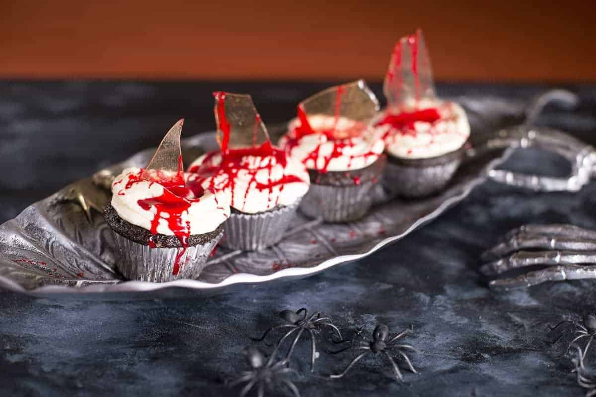 Bloody Cupcakes with sugar cglass and cherries_