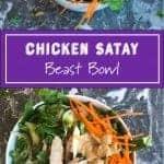 Chicken Satay salad bowl recipe by foodology geek
