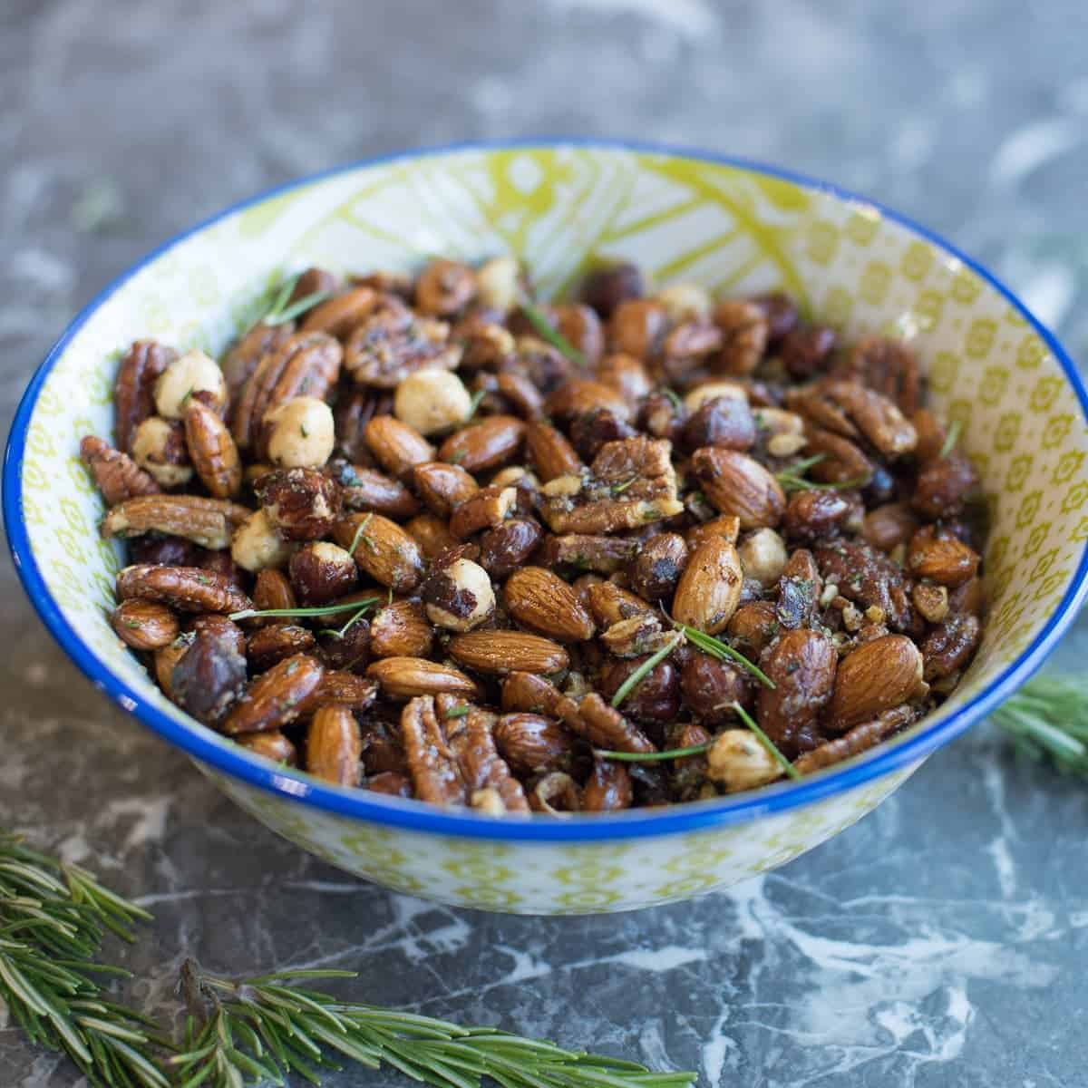 bowl of savory spiced nuts