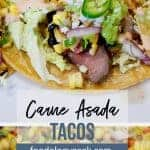 carne asada tacos with roasted corn salsa. pinterest image | foodology geek