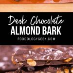dark chocolate almond bark pinterest image by foodology geek.