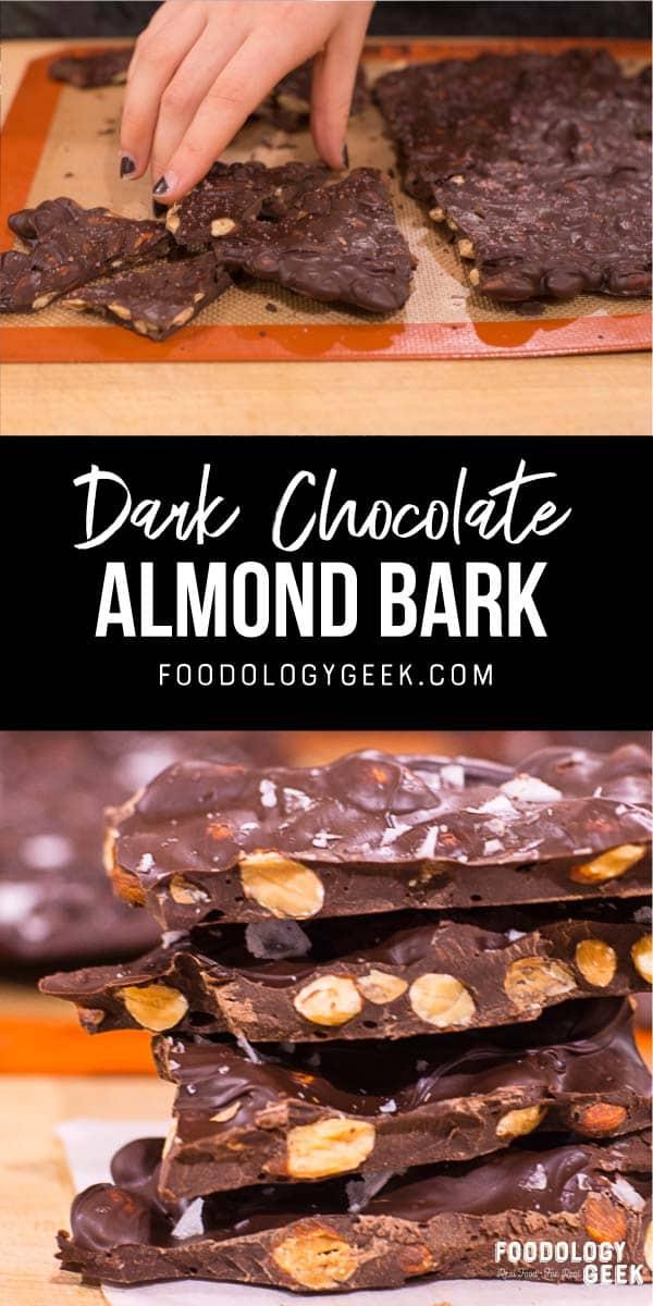 dark chocolate almond bark pinterest image by foodology geek.