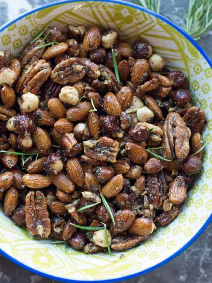 savory roasted nuts in a bowl
