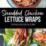 chicken lettuce wraps recipe. pinterest image by foodology geek.