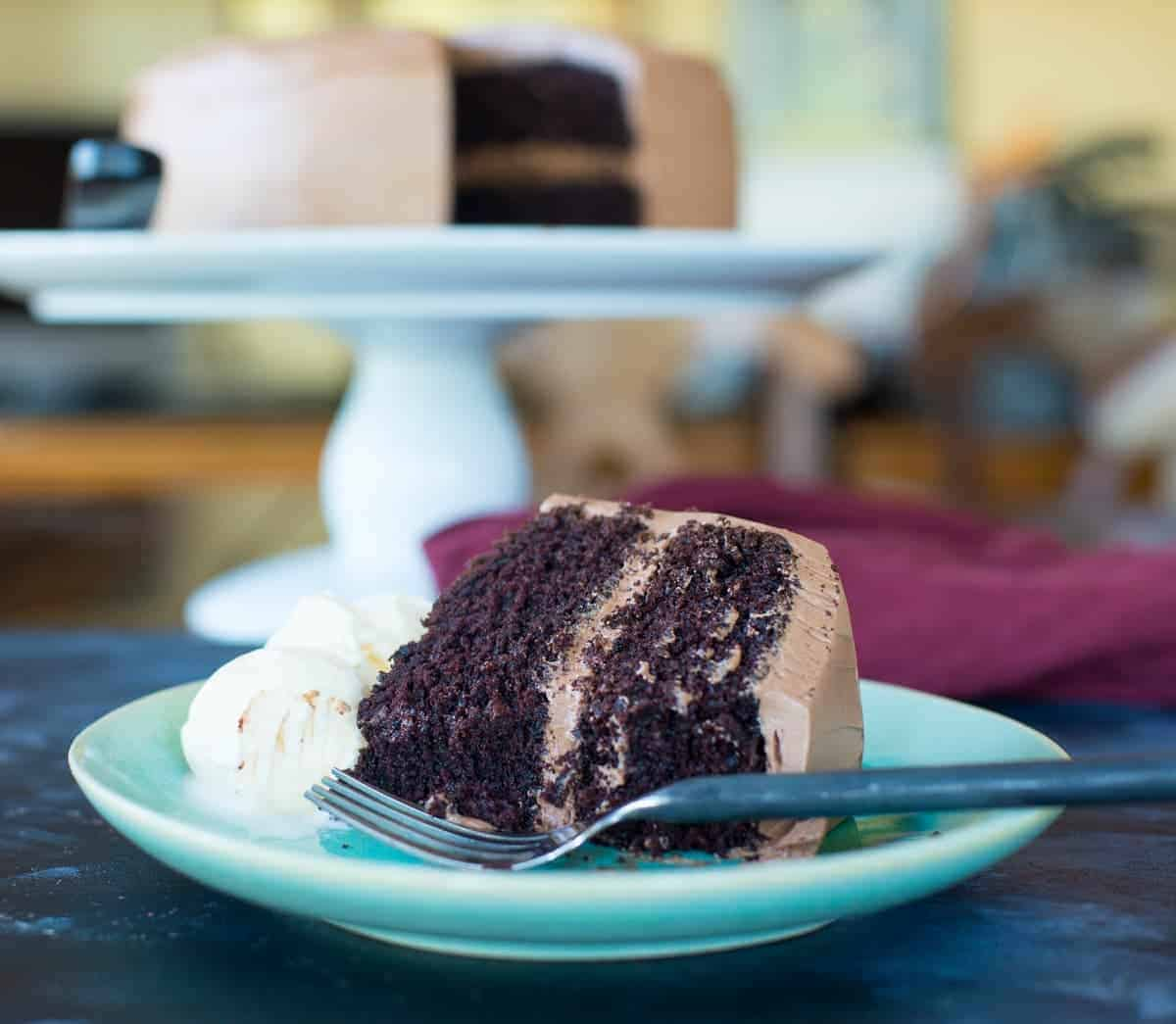 mocha cake recipe with ice cream. moist chocolate cake with a mocha frosting.