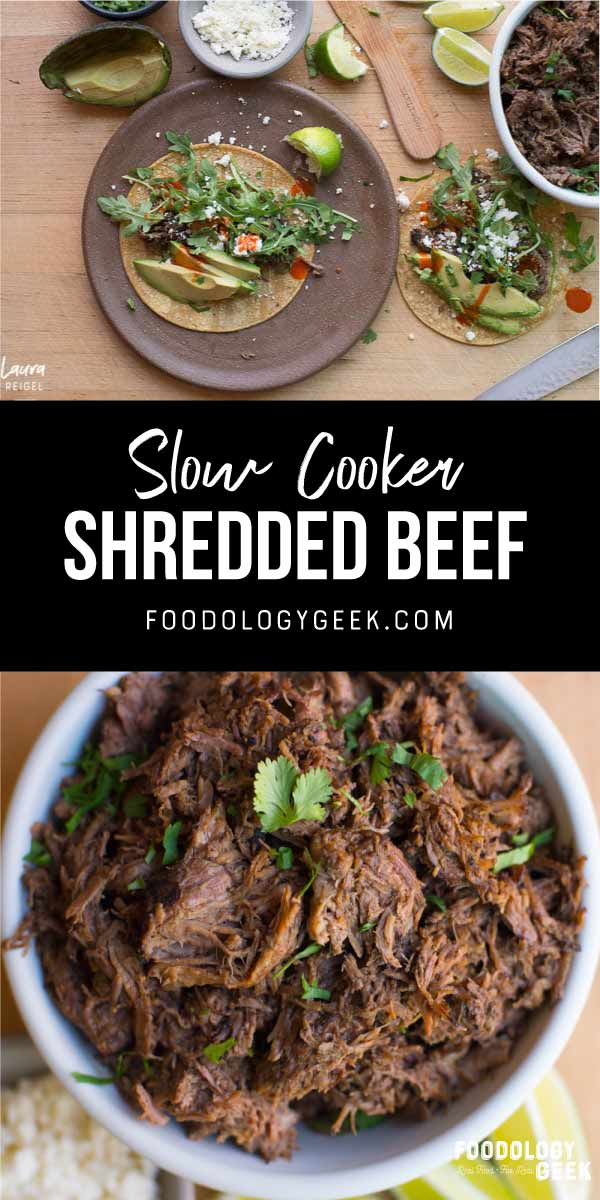 slowcooker shredded beef recipe. pinterest image by foodology geek.