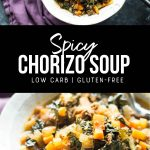 spicy chorizo sausage soup recipe. pinterest image by foodology geek.
