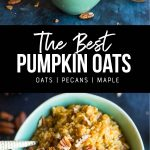 pumpkin spice oatmeal recipe. pinterest image by foodology geek