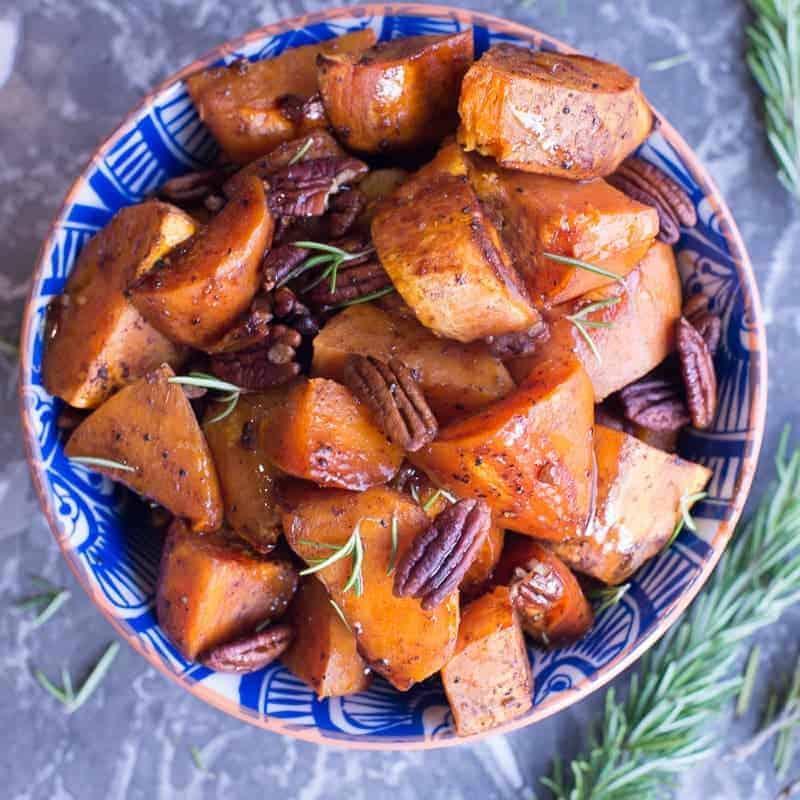 Paleo Maple Roasted Holiday Sweet Potatoes