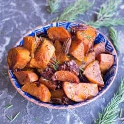 Paleo Roasted Sweet Potatoes with Pecans, maple syrup, and rosemary. by foodology geek.