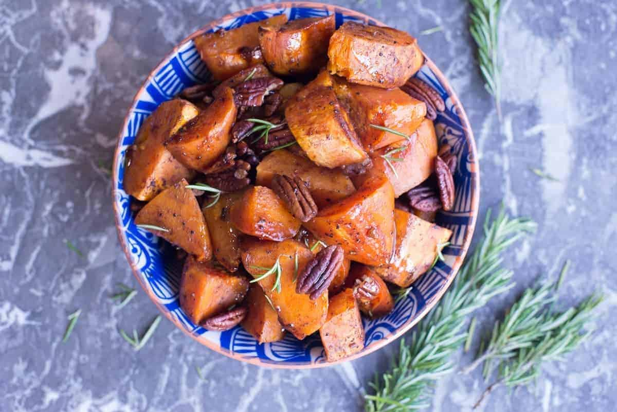 Paleo Maple and Pecan Roasted Holiday Sweet Potatoes